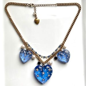 Betsey Johnson Blue Hearts Statement Necklace